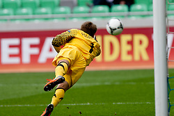 Oliver Schnitzler of Germany tries to save a shot during the UEFA European Under-17 Championship Group A semifinal match between Germany and Poland on May 13, 2012 in SRC Stozice, Ljubljana, Slovenia. (Photo by Matic Klansek Velej / Sportida.com)