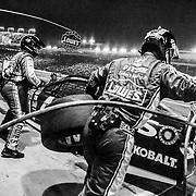 Jimmie Johnson makes his final pit during the 2014 Bank Of America 500.