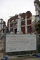 The sign outside the Oxford Terrace Baptist Church after last years earthquake in Christchurch. The church was not so lucky after a Powerful earth quack ripped through Christchurch, New Zealand on Tuesday lunch time killing at least 65 people as it brought down buildings, buckled roads and damaged churches and the Cities Cathedral. Photo Tim Clayton