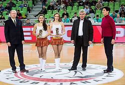 Marko Elsner, former football player and coach posing and Nataša Šiško who accepted the award in name of Polona Dornik, former basketball player at the 2017 Slovenia Hall of Fame induction ceremony during basketball match between KK Petrol Olimpija Ljubljana and Banvit B.K. in Round #8 of Basketball Champions League 2017/18, on December 19, 2017 in Arena Stozice, Ljubljana, Slovenia. Photo by Vid Ponikvar / Sportida