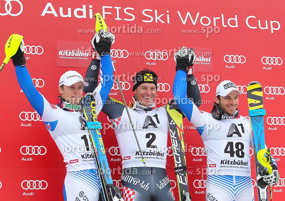 27.01.2013, Ganslernhang, Kitzbuehel, AUT, FIS Weltcup Ski Alpin, Slalom, Herren, Podium Kombination, im Bild v.l.n.r. Alexis Pinturault (FRA, 2. Platz), Ivica Kostelic (CRO, 1. Platz), Blondin Thomas Mermillod (FRA, 3. Platz) // f.l.t.r. 2nd place Alexis Pinturault of France, 1st place Ivica Kostelic of Croatia and 3th place Blondin Thomas Mermillod of France celebrate on Hahnenkamm Combi podium during the mens Slalom of the FIS Ski Alpine World Cup at the Ganslernhang course, Kitzbuehel, Austria on 2013/01/27. EXPA Pictures © 2013, PhotoCredit: EXPA/ Sammy Minkof
