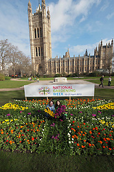 Gardeners Diarmuid Gavin and Rachel de Thames launch National Gardening Week with a planted Union Jack in Tower Gardens, UK, April 15, 2013. Photo by: i-Images