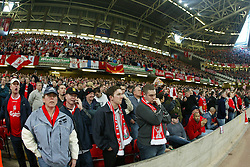 CARDIFF, WALES - Sunday, March 2, 2003: Liverpool's fans against Manchester United during the Football League Cup Final at the Millennium Stadium. (Pic by David Rawcliffe/Propaganda)
