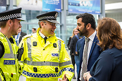 Pictured: Sergeant Scott Kennedy, Superintendent Richord Horsn, Police Scotland, Humza Yousaf and Lesley MacInnies Edinburgh City Council.<br /> Humza Yousaf, MSP, minister for Transport and the Islands joined the Edinburgh Community Safety Partnership as they officially launched Edinburgh's Transport Charter aimed at eradicating hate crime on all forms of transport in the city. Each of the organisations involved with the partnership will outline their approach to responding to incidents.  The launch will be followed by two days of action where representatives will be in transport hubs, promoting an understanding of hate crime, raising awareness of the charter and how to report unacceptable behaviours. Charter Representatives: Transport and Environment Convener, Lesley Macinnes, Alex Hynes from the Scotrail Alliance, Michael Powell from Edinburgh Trams, Jason Hackett from First Buses, Superintendent Richard Horan from Police Scotland, Chief Inspector Sue Maxwell from British Transport Police and Transport Scotland. Allister McKillop Vice Chair of Equality Transport Advisory Group (ETAG) and representatives from the Access Panel, Hollaback, SCOREScotland, NKS, Edinburgh Women's Interfaith Group and SESTran along with students from Currie High School<br /> <br /> Ger Harley | EEm 27 June  2017