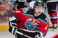 KELOWNA, CANADA - NOVEMBER 30: Colten Martin #8 of the Kelowna Rockets warms up against the Kamloops Blazers on November 30, 2013 at Prospera Place in Kelowna, British Columbia, Canada.   (Photo by Marissa Baecker/Shoot the Breeze)  ***  Local Caption  ***