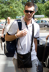 Sani Becirovic at arrival of Slovenian basketball team from a friendly tournament in Spain, on August 9, 2010 at City Hotel, Ljubljana, Slovenia. (Photo by Vid Ponikvar / Sportida)