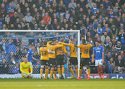 Newport County players celebrate after Newport County defender Darren Jones makes it 0-1 during the Sky Bet League 2 match between Portsmouth and Newport County at Fratton Park, Portsmouth, England on 12 March 2016. Photo by Adam Rivers.