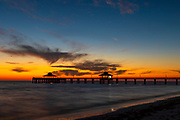 Feb. 5, 2019: The sun sets behind the Fort Myers Beach Pier in Fort Myers, FL.