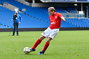 Peter Stacey of England scores a goal to give a 1-0 lead to the home team during the world's first Walking Football International match between England and Italy at the American Express Community Stadium, Brighton and Hove, England on 13 May 2018. Picture by Graham Hunt.