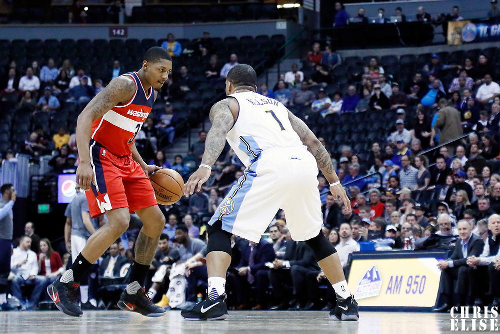 08 March 2017: Denver Nuggets guard Jameer Nelson (1) defends on Washington Wizards guard Bradley Beal (3) during the Washington Wizards 123-113 victory over the Denver Nuggets, at the Pepsi Center, Denver, Colorado, USA.