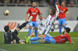 November 2, 2017 - Bucharest, Romania - Hapoel's Ben Sahar scores during the UEFA Europa League group G football match Steaua Bucharest FCSB v Hapoel Beer-Sheva FC in Bucharest, Romania on November 2, 2017. (Credit Image: © Alex Nicodim/NurPhoto via ZUMA Press)