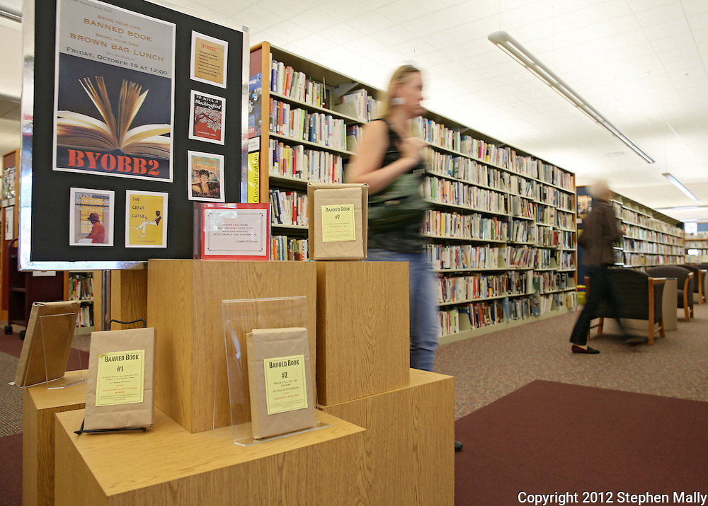 A display for banned books at the Marion Public Library, 1095 6th Ave, in Marion on Tuesday September 25, 2012.