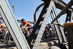 Leigh Ann Ganzar (USA) crosses the Murray River on Stage 2 of 2020 Santos Women's Tour Down Under, a 114.9 km road race from Murray Bridge to Birdwood, Australia on January 17, 2020. Photo by Sean Robinson/velofocus.com
