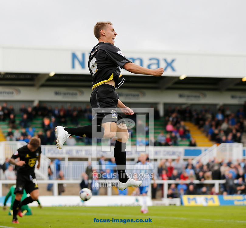 Danny Rose of Bury celebrates scoring Burys second during the Sky Bet League 2 match at Victoria Park, Hartlepool<br /> Picture by Simon Moore/Focus Images Ltd 07807 671782<br /> 16/08/2014