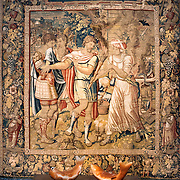 SINTRA, Portugal - A 16th-century Flemish tapestry depicting a scene from the life of Roman emperor Julius Caesar. The Palace of Sintra (Palácio Nacional de Sintra) is a mediaeval royal palace in Sintra and part of the UNESCO World Heritage Site that encompasses several sites in and around Sintra, just outside Lisbon. The palace dates to at least the early 15th century and was at its peak during the 15th and 16th centuries. It remains one of the best-preserved royal residences in Portugal.