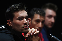 February 23, 2019 - Abu Dhabi, United Arab Emirates - (Left-Right) Tom Dumoulin of Netherlands and Team Sunweb, Vincenzo Nibali of Italy and Team Bahrain-Merida and Elia Vivianiduring Top Riders press conference inside the Louvre Abu Dhabi Museum..On Saturday, February 23, 2019, Abu Dhabi, United Arab Emirates. (Credit Image: © Artur Widak/NurPhoto via ZUMA Press)