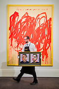 FRANCIS BACON Two Studies for a Self-portrait, 1970, Estimate $22,000,000-30,000,000 in front of CY TWOMBLY Untitled (Bacchus 1st Version V), 2004, Estimate Upon Request - Sotheby's previews New York sales of Impressionist, Modern and Contemporary Art.   London Exhibition Dates 9- 13 April 2016, New York Sale Dates Impressionist & Modern Art Evening Sale: 9 May 2016 and Contemporary Art Evening Auction: 11 May 2016