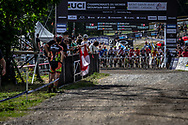 during the Team Relay at the 2019 UCI MTB World Championships in Mont-Sainte-Anne, Canada.