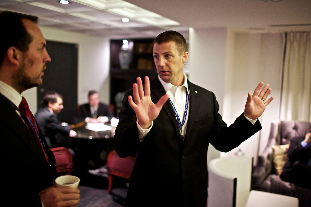 Congressman-elect Markwayne Mullin, from Oklahoma's 2nd District, right, talks with his advisor Trebor Worthen, left, in the lobby of the Capitol Hill Hotel in Washington, DC on Nov. 29, 2012.