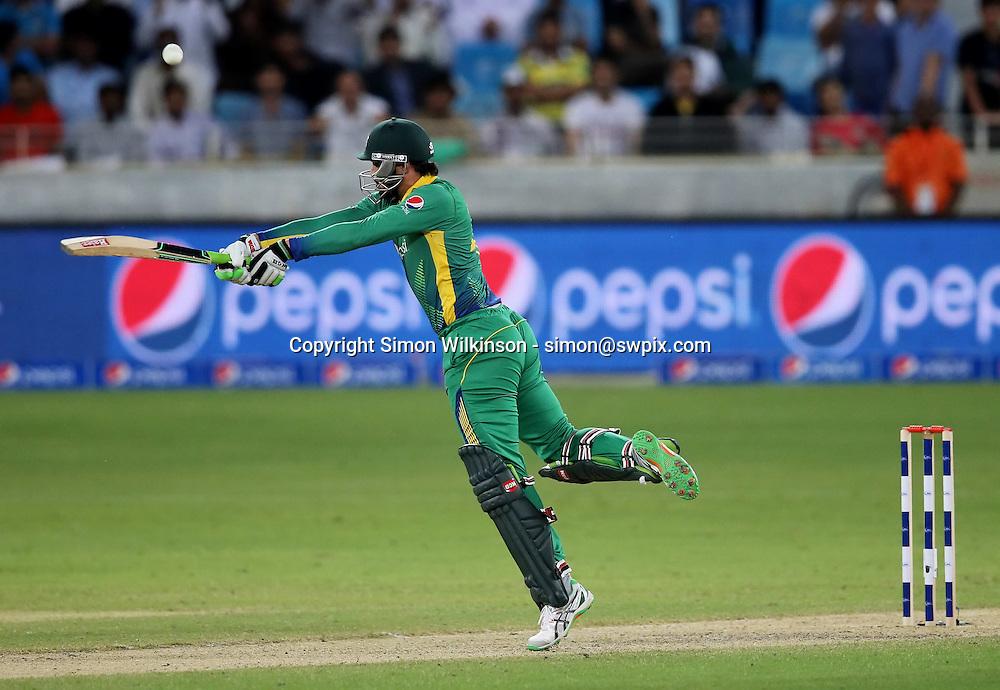 PICTURE BY MARK GREEN/SWPIX.COM  Pakistan v England 1st T20, Dubai Internayional Stadium, UAE, 26/11/15 <br /> Pakistan's Anwar Ali plays an unorthodox shot against England
