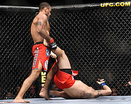 "ATLANTA, GEORGIA, SEPTEMBER 6, 2008: Roan Carneiro (standing) tries to work through the guard of Ryo Chonan during ""UFC 88: Breakthrough"" inside Philips Arena in Atlanta, Georgia on September 6, 2008"