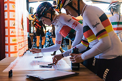 Alena Amialiusik signs in with her CANYON//SRAM Racing teammates - Ronde van Drenthe 2016, a 138km road race starting and finishing in Hoogeveen, on March 12, 2016 in Drenthe, Netherlands.