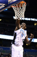 Nov 9, 2012; Orlando, FL, USA; Orlando Magic power forward Andrew Nicholson (44) dunks the ball during the fourth quarter at Amway Center. Brooklyn defeated Orlando 107-68.