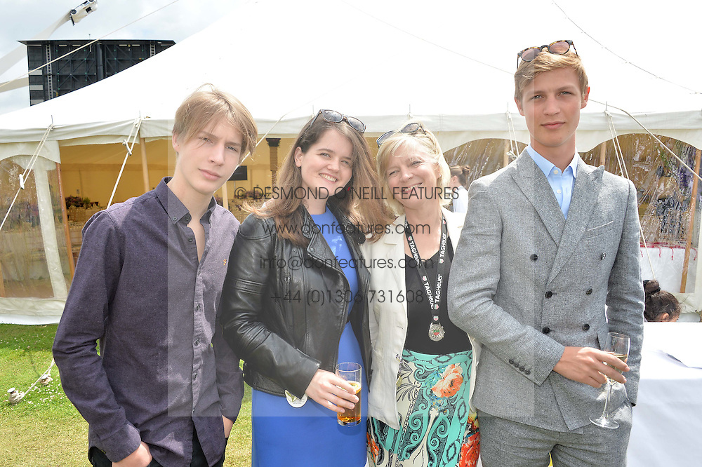 Left to right, the HON.FREDDIE GORDON-LENNOX, MAGDALENA CASE, the COUNTESS OF MARCH and the HON.WILLIAM GORDON-LENNOX at the Cartier hosted Style et Lux at The Goodwood Festival of Speed at Goodwood House, West Sussex on 26th June 2016.