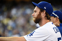 March 29, 2018 - Los Angeles, CA, U.S. - LOS ANGELES, CA - MARCH 29: Los Angeles Dodgers Pitcher Tony Cingrani (54) looks on during the MLB opening day game between the San Francisco Giants and the Los Angeles Dodgers on March 29, 2018 at Dodger Stadium in Los Angeles, CA. (Photo by Chris Williams/Icon Sportswire) (Credit Image: © Chris Williams/Icon SMI via ZUMA Press)