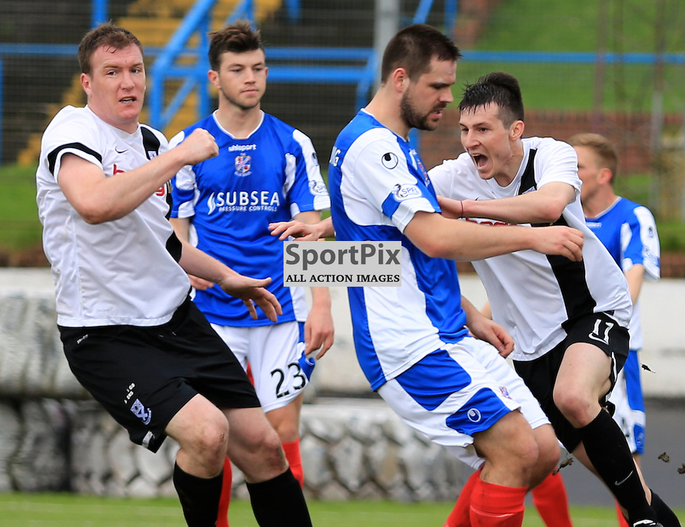 Michael Donald celebrates Ayr's first goal during the Cowdenbeath FC V Ayr United FC Scottish Championship Play Off Second Leg 10th May 2014 ©Edward Linton | SportPix.org.uk