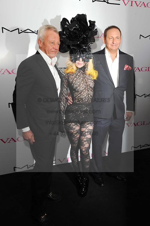 Per Neuman, Lady Gaga and John Dempsey at the MAC VIVA GLAM discussion hosted by Sharon Osbourne to promote MAC's latest fundraising range with all proceeds donated to HIV/AIDs charities via the MAC AIDS Fund, at Il Bottaccio, 9 Grosvenor Place, London on 1st March 2010.
