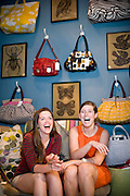 Toots and Magoo's  visual director and store manager, Chloe Greene and Grey Gibson, in their Franklin street shop.