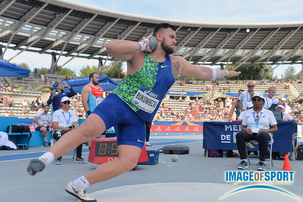 Konrad Bukowiecki (POL) places seventh in the shot put at 69-6¾ (21.20m) during the Meeting de Paris, Saturday, Aug. 24, 2019, in Paris. (Jiro Mochizuki/Image of Sport via AP)
