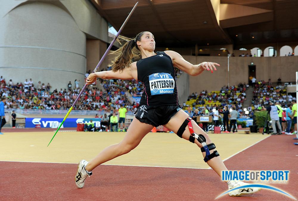 Jul 18, 2014; Fontvieille, MONACO; Kara Patterson (USA) places seventh in the womens javelin at 189-7 (57.64m) in the 2014 Herculis Monaco meeting at Stade Louis II stadium. Photo by Jiro Mochizuki