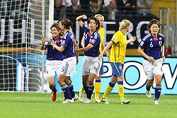 13.07.2011, Commerzbank Arena, Frankfurt, GER, FIFA Women Worldcup 2011, Halbfinale,  Japan (JPN) vs. Schweden (SWE), im Bild.Torjubel / Jubel  Japan nach dem 1:1 durch Nahomi Kawasumi (Japan) (L) .. // during the FIFA Women´s Worldcup 2011, Semifinal, Japan vs Sweden on 2011/07/13, Commerzbank Arena, Frankfurt, Germany.   EXPA Pictures © 2011, PhotoCredit: EXPA/ nph/  Mueller       ****** out of GER / CRO  / BEL ******