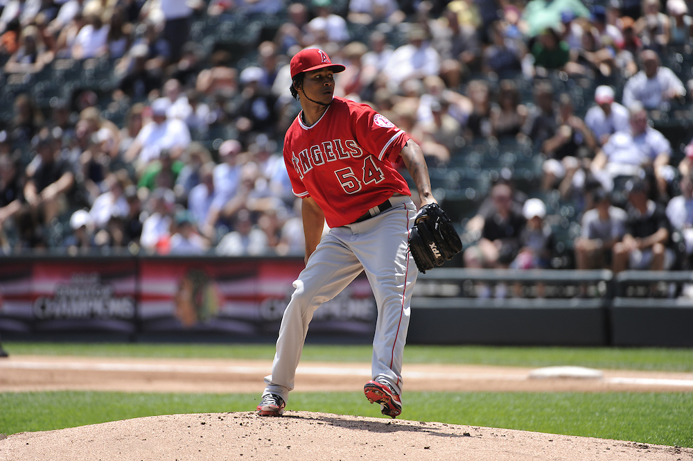 CHICAGO - JULY 08:  Ervin Santana #54 of the Los Angeles Angels of Anaheim pitches against the Chicago White Sox on July 8, 2010 at U.S. Cellular Field in Chicago, Illinois.  The White Sox defeated the Angels 1-0.  (Photo by Ron Vesely)