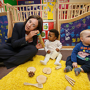 Scottish Labour leader visits nursery. Kezia Dugdale during a visit to Castlemilk Stables nursery in Glasgow to mark the deadline John Swinney set for Scottish councils to meet new funding deal. With children Charis Chaps (C) and Blake McMillan (R). Picture Robert Perry 9th Jan 2016<br /> <br /> Must credit photo to Robert Perry<br /> FEE PAYABLE FOR REPRO USE<br /> FEE PAYABLE FOR ALL INTERNET USE<br /> www.robertperry.co.uk<br /> NB -This image is not to be distributed without the prior consent of the copyright holder.<br /> in using this image you agree to abide by terms and conditions as stated in this caption.<br /> All monies payable to Robert Perry<br /> <br /> (PLEASE DO NOT REMOVE THIS CAPTION)<br /> This image is intended for Editorial use (e.g. news). Any commercial or promotional use requires additional clearance. <br /> Copyright 2014 All rights protected.<br /> first use only<br /> contact details<br /> Robert Perry     <br /> 07702 631 477<br /> robertperryphotos@gmail.com<br /> no internet usage without prior consent.         <br /> Robert Perry reserves the right to pursue unauthorised use of this image . If you violate my intellectual property you may be liable for  damages, loss of income, and profits you derive from the use of this image.