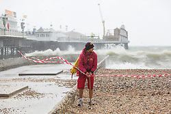 © Licensed to London News Pictures. 20/08/2016. Brighton, UK.Lifeguards have closed the beach powerful gusts of wind and high waves are battering Brighton and the South Coast. Photo credit: Hugo Michiels/LNP