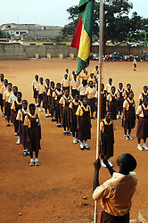 Ghana, Accra, Kokomlemle, 2007. Flag raising on March 5th, 2007, one day before the nationwide celebration of Ghana's 50th Anniversary of Independence...