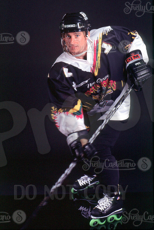 May 22, 2002; Los Angeles, CA, USA; TONY SZABO of the New Jersey Rockin Rollers RHI league wears the new V-Form skates. Roller Hockey and Inline Skating is a hot sport in 2002. Kids, women, adults are playing in leagues throughout the United States and Canada that play year around.<br />Mandatory Credit: Photo by Shelly Castellano/ZUMA Press.<br />(&copy;) Copyright 2002 by Shelly Castellano