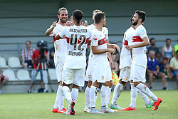 05.07.2015, Lindenstadion, Hippach, AUT, Testspiel, VfB Stuttgart vs FC Viktoria Pilsen, im Bild Freude beim VfB Stuttgart nach dem Treffer von Martin Harnik (VfB Stuttgart) zum 3 zu 1 // during a International Friendly Match between VfB Stuttgart and FC Viktoria Pilsen at the Lindenstadion in Hippach, Austria on 2015/07/05. EXPA Pictures © 2015, PhotoCredit: EXPA/ Eibner-Pressefoto/ Fudisch<br /> <br /> *****ATTENTION - OUT of GER*****