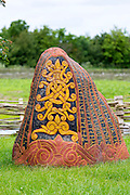 Historic traditional rune stone at Ribe Viking Center heritage centre in South Jutland, Denmark