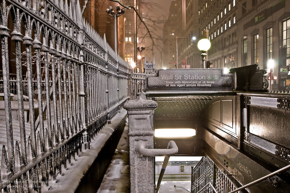 Wall Street Subway Station. Broadway. Snow. Trinity Church. Winter