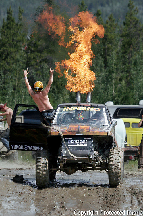 Ian Stewart/Yukon News<br /> The flames were flying on Saturday at the mudbogging pits in Whitehorse. See more photos on page 13.