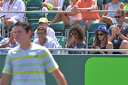 March 27, 2018 - Miami, FL, United States - KEY BISCAYNE, FL - March, 27: Model Susan Gossage attends husband Jeremy Chardy's (FRA) match during day 9 of the 2018 Miami Open held at the Crandon Park Tennis Center on March 27, 2018 in in Key Biscayne, Florida. (Credit Image: © Andrew Patron via ZUMA Wire)