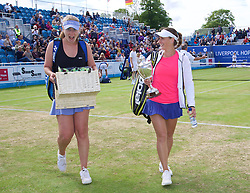 LIVERPOOL, ENGLAND - Sunday, June 21, 2015: Women's 2015 Champion Ana Bodgan (ROM) with the Boodles Trophy and runner-up Elena Bogdan (ROM) during Day 4 of the Liverpool Hope University International Tennis Tournament at Liverpool Cricket Club. (Pic by David Rawcliffe/Propaganda)