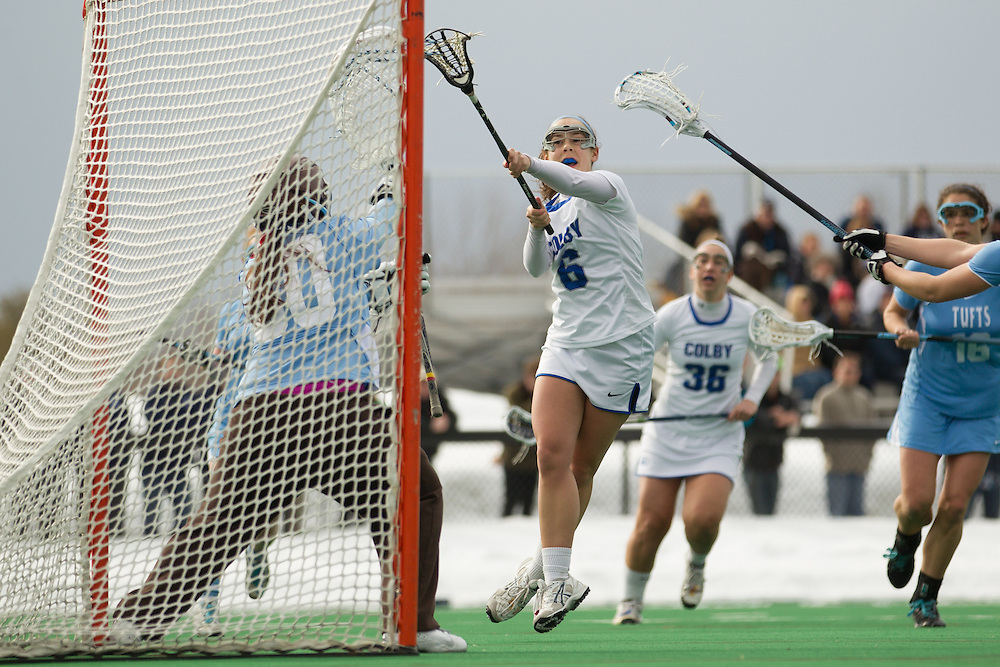 Alex Mintz of Colby College, during a NCAA Division III women's lacrosse game against at Tufts University on March 15, 2014 in Waterville, ME. (Dustin Satloff/Colby Athletics)