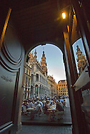 BRUSSELS, BELGIUM - View looking out from the main entrance of the famous cafe Le Roy d'Espagne on to the Grand Place in Brussels. (Photo © Jock Fistick)
