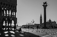 Italy. Venice. San Marco Piazetta and the Ducal palace  in the distance  the bell tower of San Giorgio Maggiore / La piazetta San Marco