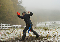 Rich Reilly from Rochester winds up at the 9th tee box during Sunday's Disc Golf Tournament at Castle in the Clouds.  (Karen Bobotas/for the Laconia Daily Sun)